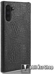 Műanyag védő tok / hátlap - FEKETE - bőr hatású, krokodilbőr mintás - SAMSUNG SM-N970F Galaxy Note10 / SAMSUNG SM-N971U Galaxy Note10 5G