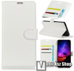 Notesz tok / flip tok - FEHÉR - asztali tartó funkciós, oldalra nyíló, rejtett mágneses záródás, bankkártyatartó zseb, szilikon belső - Vodafone Smart X9