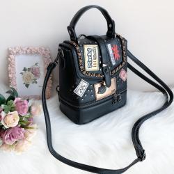 Чанта/ Раница 2 в 1 Кожена Черен цвят Модел-hl639