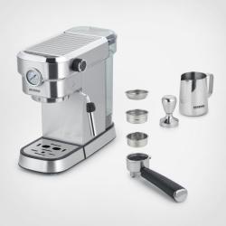Severin KA5995 Espresso kávéfőző, 1350 W, 15 bar, beépített nyomásmérővel, ezüst