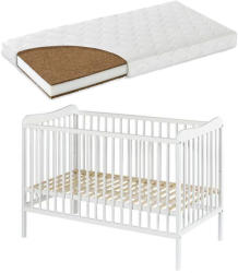 Casa Bebelusului Patut lemn Grzes Alb 120X60 cm cu saltea Komfort 10 cm gratuit copii, bebelusi PAK-Grzes-212
