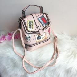 Чанта/ Раница 2 в 1 Кожена Розов цвят Модел-hl639