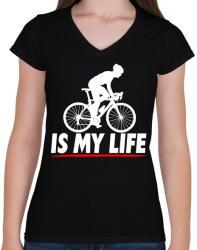 printfashion Kerékpáros póló - Női V-nyakú póló - Fekete