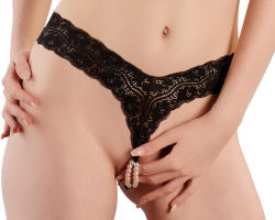 Cottelli G-string with Pearls 2321866 Black XL