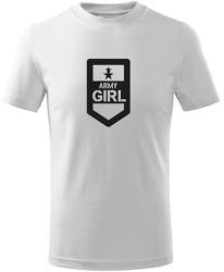 O&T Tricou de copii scurt Army girl, alb