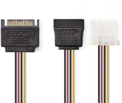 Nedis Cablu de alimentare intern SATA 15-pin tata - Molex mama + SATA 15-pin mama 0.15m Nedis (CCGP73555VA015)