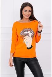MONDO ITALIA Póló, színes nyomtatott MI64633 narancs