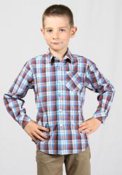 Rumena Kids Риза за момче с навиващи ръкави в разноцветно каре rumena