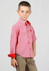 Rumena Kids Риза за момче с навиващи ръкави в червено каре rumena