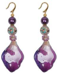 Dannyra Обици с листенца от естествена орхидея, перли Swarovski и Майорка, мъниста клоазоне Marry Me With Purple Dannyra Jewels