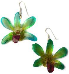 Dannyra Обици с естествена орхидея в синьо-лилав цвят Dannyra Jewels