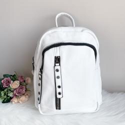 Бяла кожена раница модел- s38010