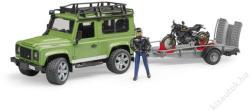 BRUDER Land Rover, Scrambler Ducati Cafe Racer, transzporter, figurák (02598)