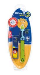 Pelikan Roller Griffix Pentru Stangaci, Culoare Verde, 2 Rezerve, Blister (963930)