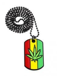 Zumzeria Lantisor cu Pandantiv Dogtag Frunza Marijuana (zum57)