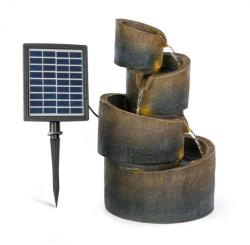 Blumfeldt Mantua, fontană cascadă, fontană solară, fontană de grădină, 4 niveluri, funcționare cu baterie (LEU13-Mantua)