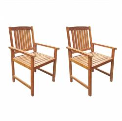 2 db barna tömör akácfa kerti szék