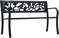 vidaXL Градинска пейка, 125 см, черна, стомана (47942)