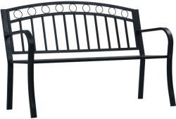 vidaXL Градинска пейка, 125 см, черна, стомана (47945)