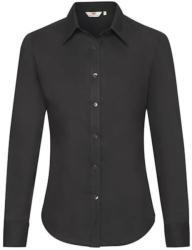 Fruit of the Loom Női Blúz Hosszú ujjú Fruit of the Loom Oxford Shirt Long Sleeve Lady-Fit - XS, Fekete