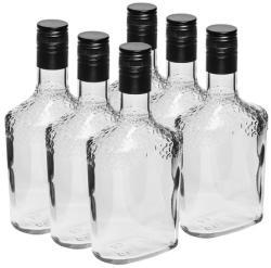 BIOWIN 631508 Комплект бутилки с черна капачка на винт, 500 мл - 6 броя