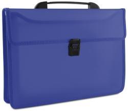 DONAU Servieta din plastic PP, cu 2 compartimente, cu inchidere si maner, DONAU - albastru transparent (DN-8546001PL-10) - birotica-asp