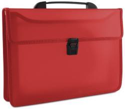 DONAU Servieta din plastic PP, cu 2 compartimente, cu inchidere si maner, DONAU - rosu transparent (DN100731)