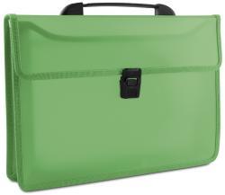 DONAU Servieta din plastic PP, cu 2 compartimente, cu inchidere si maner, DONAU - verde transparent (DN-8546001PL-06) - birotica-asp