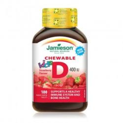 Jamieson Vitamina D3 400UI kids cu aroma de capsuni, 100 tablete masticabile, Jamieson (FSH7476)