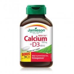 Jamieson Mega Cal Calciu 650 mg si D3 400 ui, 120 comprimate, Jamieson (FSH7470)