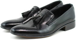 Ellion Pantofi barbati eleganti, negri din piele naturala lacuita - 036NLAC (036NLAC)
