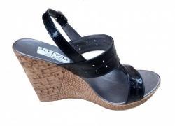Ellion Sandale dama negre din piele naturala, cu platforme de 8 cm S46NLAC (S46NLAC)