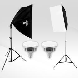 Kit Softbox Jackal SB85 2x85W E27 5500K LED, cu stative, 2x2m