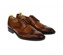 Lucas Shoes Pantofi barbati derby din piele naturala maro coniac - 500CONIAC (500CONIAC)