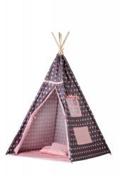 ECOTOYS Cort de indieni tipi-04 ecotoys cu salteluta si perne - pink star
