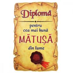 AleXer Magnet Diploma pentru Cea mai buna MATUSA din lume, lemn (CDT-ES-4604-40)