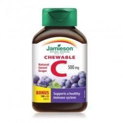 Jamieson Vitamina C 500 mg aroma de struguri, 100 + 20 comprimate masticabile, Jamieson (FSH7473)