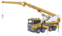 BRUDER Scania R-szériás Liebherr Daru Hang-és Fényjelzővel (03570)