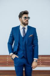 Elite Fashion Ralph Redford Közép Kék Slim Fit Öltönyzakó 56 ( XL )