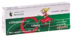 Remedia Vitamina C capsuni 100 mg - 20 cpr Remedia