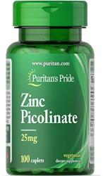 Puritan's Pride Zinc Picolinate 25mg 100 Caplets