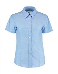 Kustom Kit Női rövid ujjú blúz Kustom Kit Women's Tailored Fit Workwear Oxford Shirt SSL 2XL (18), Világos kék