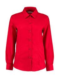 Kustom Kit Női hosszú ujjú blúz Kustom Kit Women's Tailored Fit Workwear Oxford Shirt XL (16), Piros