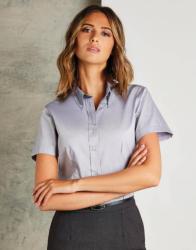 Kustom Kit Női rövid ujjú blúz Kustom Kit Women's Tailored Fit Premium Oxford Shirt SSL S, Szénszürke