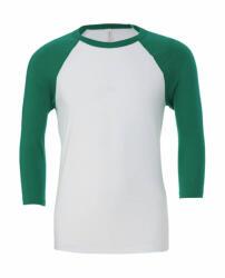 Bella Canvas Uniszex 3/4-es ujjú póló Bella Canvas Unisex 3/4 Sleeve Baseball T-Shirt 2XL, Fehér/Kelly zöld