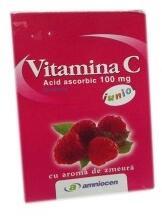 Amniocen Vitamina C Zmeura 100mg 20cpr, Amniocen