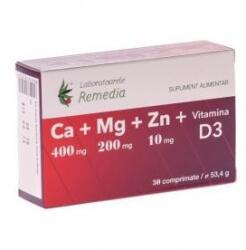 Remedia Calciu+magneziu+zinc +vitamina D3 30cpr+10cpr Gratis