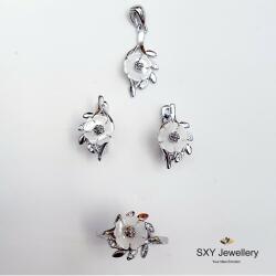 """SXY Jewellery Дамски сребърен комплект """"Бяло цвете""""   ss4131"""