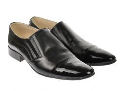Lucianis style Pantofi barbati, eleganti, din piele naturala/lac, cu elastic - P61NLAC (P61NLAC)