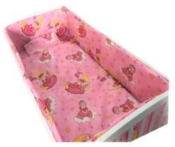 Croitoria Noastră Lenjerie de patut bebelusi 120x60 cm 5 piese cu aparatori laterale pufoase cn bunica ursulet roz